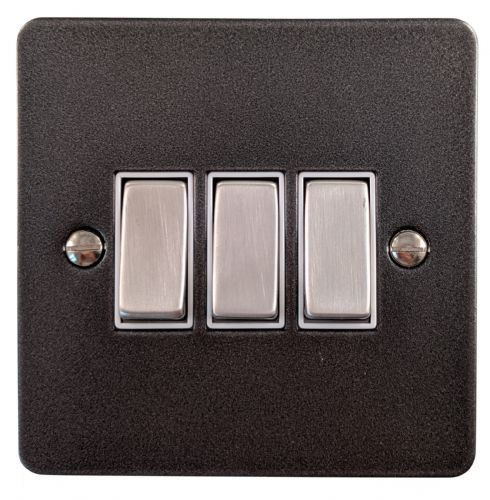 G&H FP203 Flat Plate Pewter 3 Gang 1 or 2 Way Rocker Light Switch